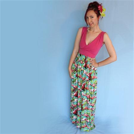 Sleeveless v-neck bodice with pleated maxi skirt.