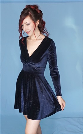 Velvet full length sleeve v-neck dress with full circle skirt.