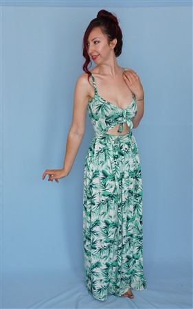 Cut out front maxi dress with tied central panel.