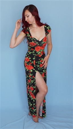 Cap sleeve fitted maxi dress with sweetheart neckline and thigh high split.