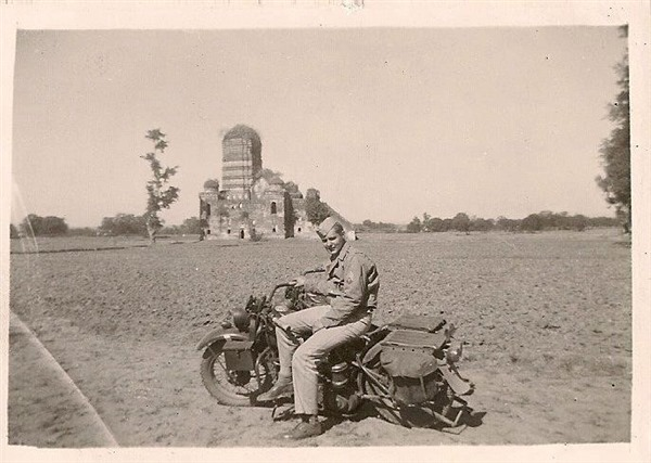 American with Military Motorcycle in India - Korean War