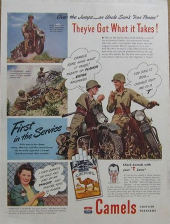 Camels Advertisement Featuring Harley Davidson - WWII