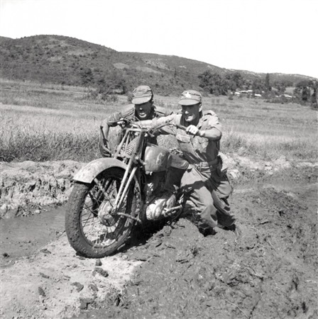 Canadian Troops with Harley WLA Military Motorcycle - Korean War