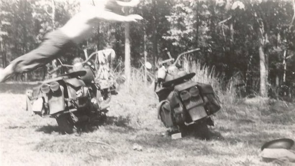 GI Training with Two WLA Motorcycles - WWII