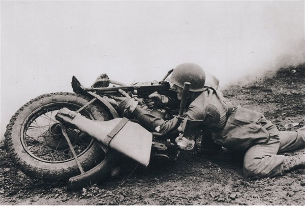 Returning Fire with Military Motorcycle - WWII