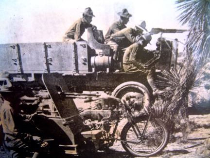 US Army Troops with Machine Gun Mounted Motorcycles Designed by William Harley - 1916