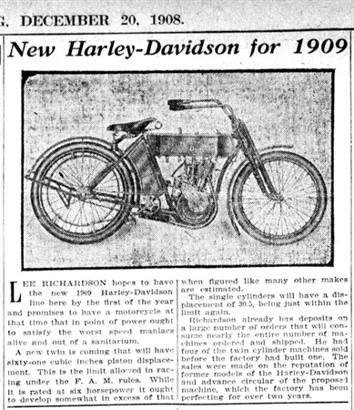 The first Harley V-twin was released in 1909. It was a 125cc with a whole SEVEN horsepower.