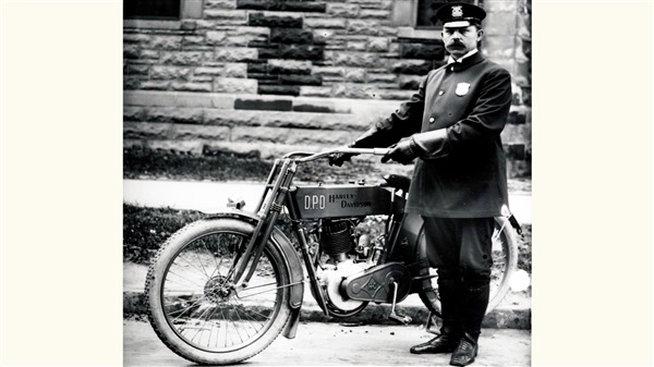 In 1908, the first motorcycle sold for police duty went to the Detroit Police Department.