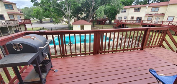 Some back decks overlook the pool