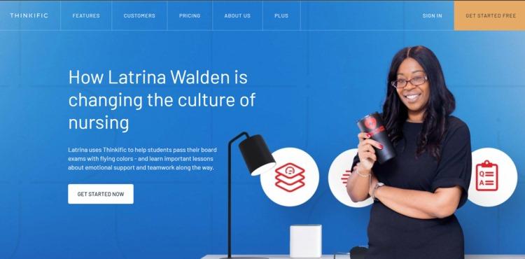 Latrina Walden Feature on the Thinkific Education Platform